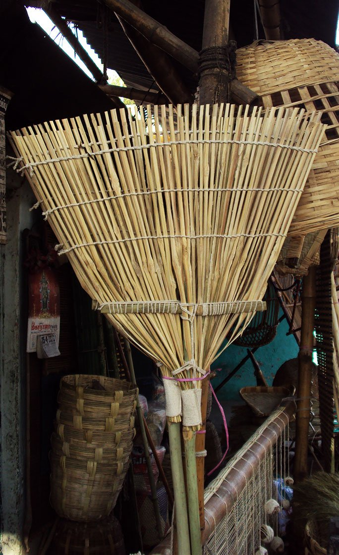 Garden broom made of bamboo