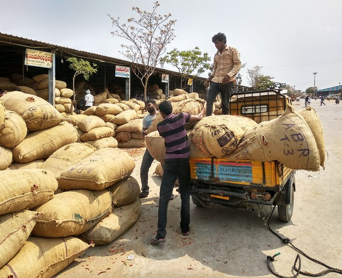 Jute bags stuffed with mirchi for sale to the exporters in Guntur Mirchi yard