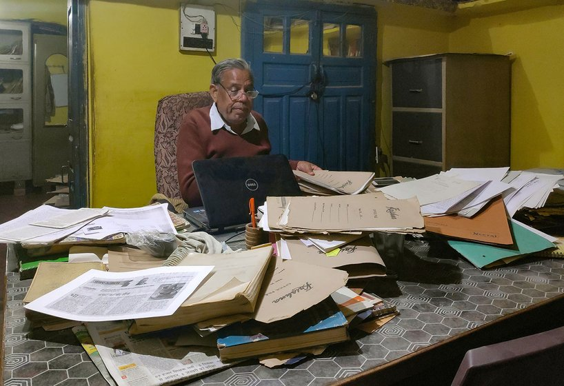 Mangal Singh's home office is overflowing with stacks of files which record his communication with government agencies