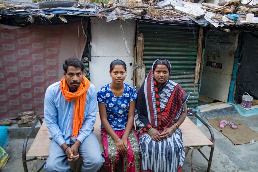 Dileep Kumar and Tiharinbai Yadav work at construction sites; their 15-year-old daughter Poornima studies in a private school in Jammu