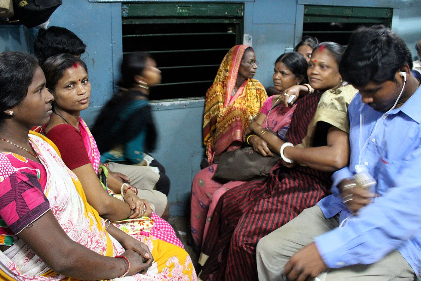 Breshpati Sardar sitting in the train early in the morning