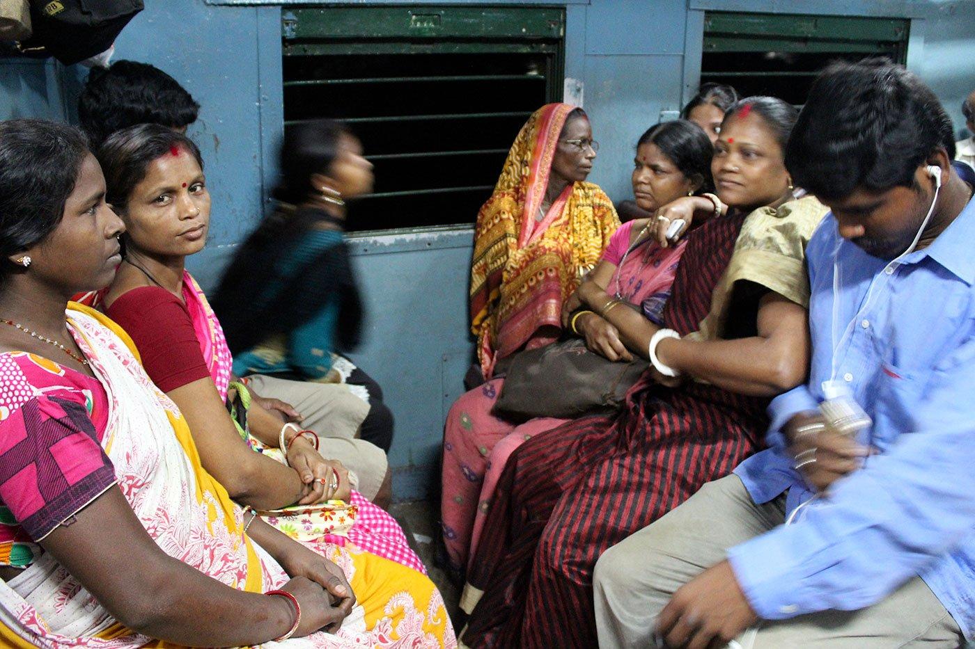 Breshpati Sardar sitting in the train early in the morning