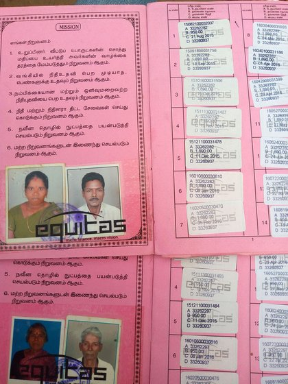 The passbooks of the microcredit institutions