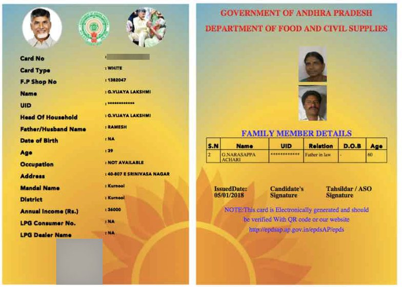 The ration card with name of Vijayalakshmi and photo of Nagaraju, from his Aadhaar. The other woman can't be identified