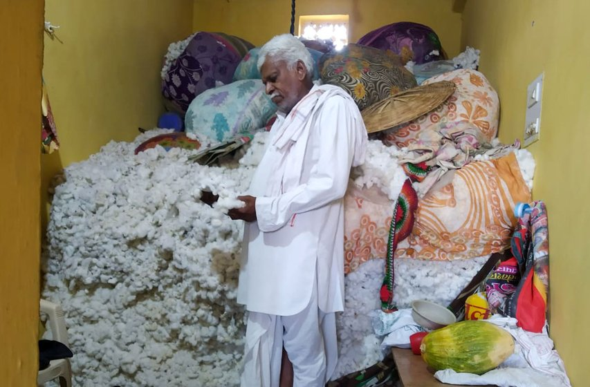 Vaibhav Wankhede's aunt, Varsha Wankhede (left); his uncle, Prakash Wankhede (centre); and his father, Ramesh Wankhede (right) are farmers with quintals of unsold cotton lying in their homes