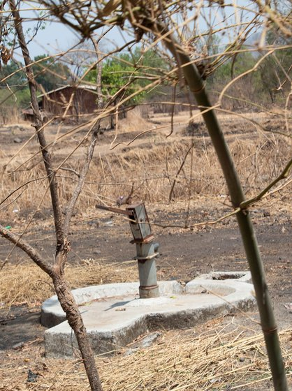 One of the hand pumps that barely trickles water