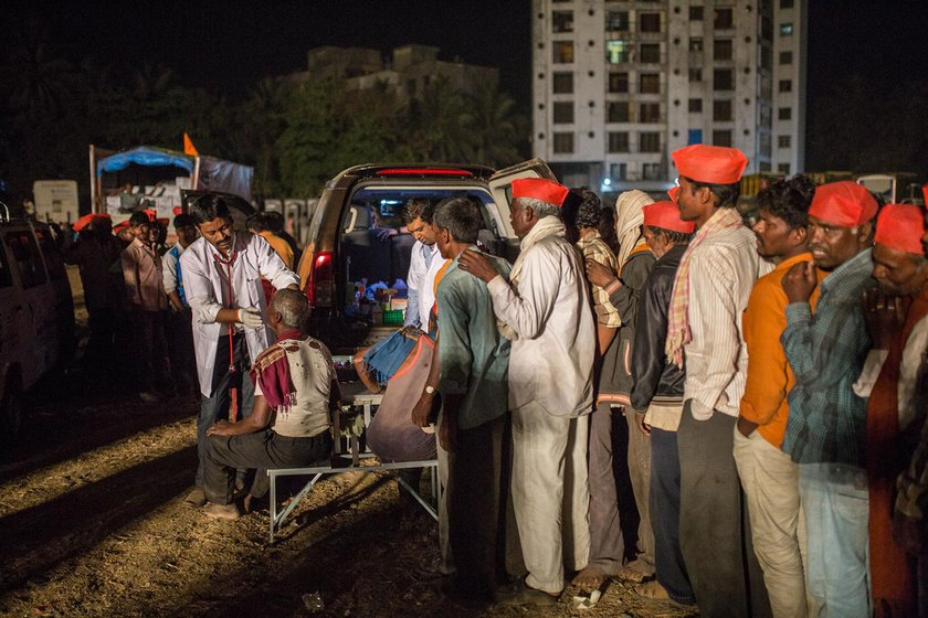 Farmers getting medical attention a the Somaiya ground in Mumbai on the night of March 11th