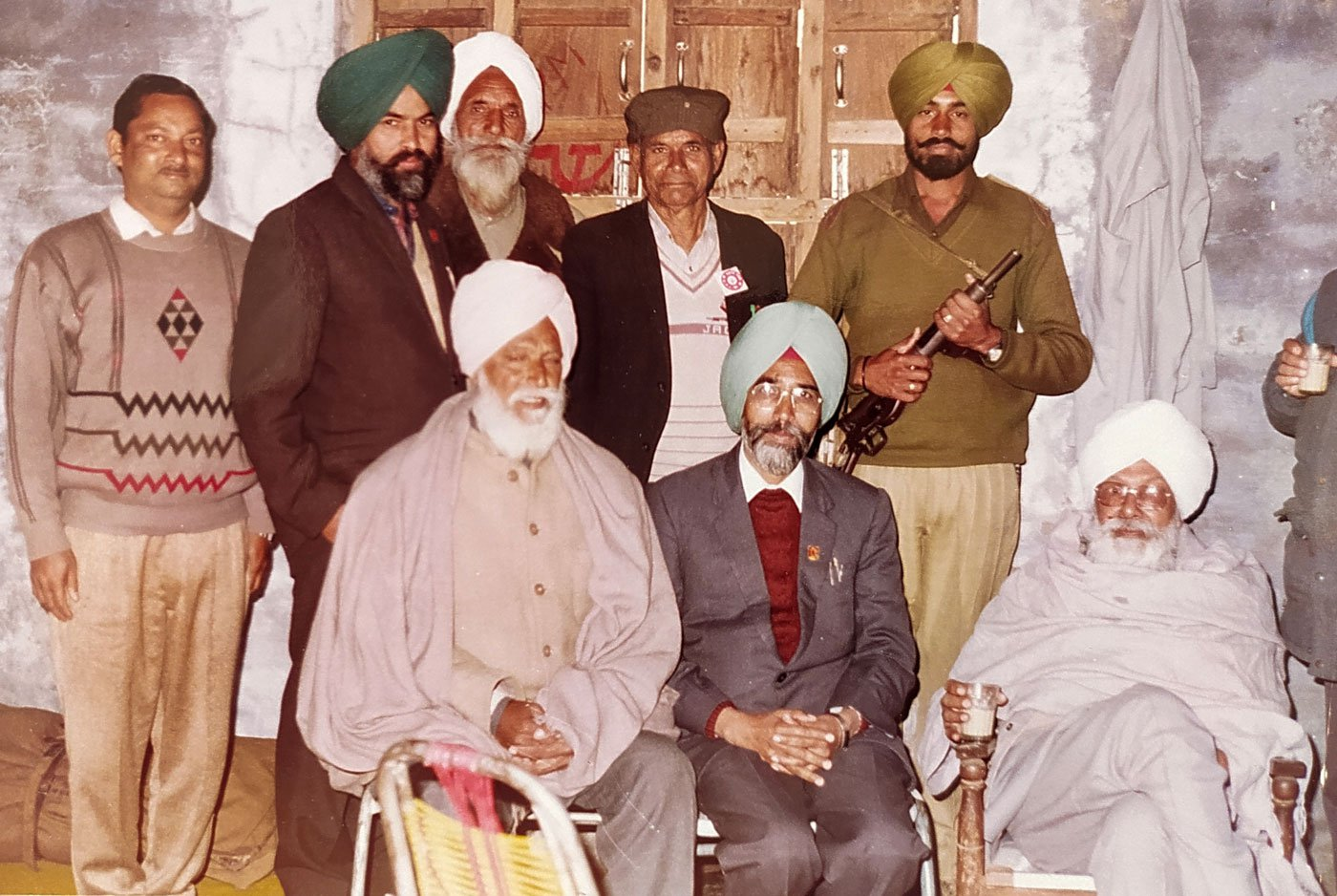 Jhuggian (seated, centre) with CPI-M leader (late) Harkishan Singh Surjeet (seated, right) at the height of the militancy in Punjab 1992