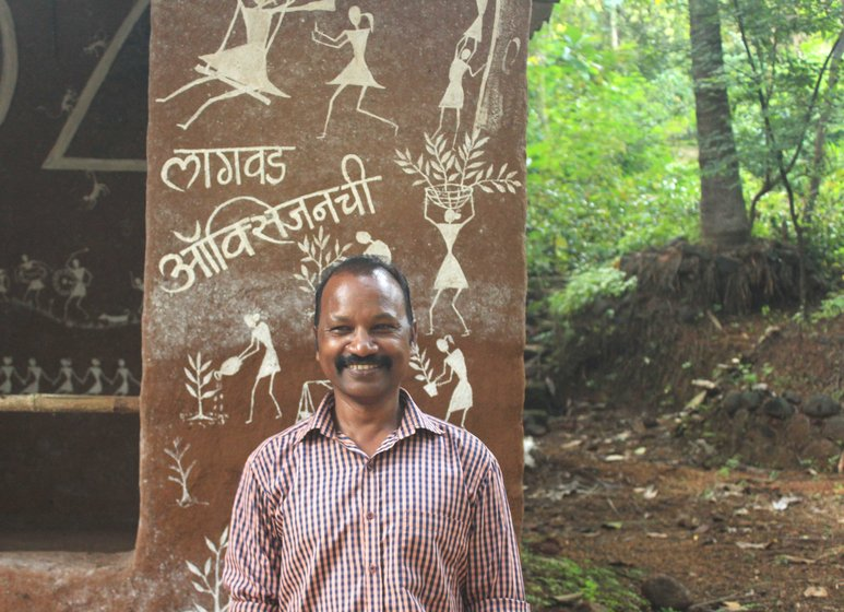 Prakash Bhoir (left) of Keltipada questions the 'development' on his community's land.