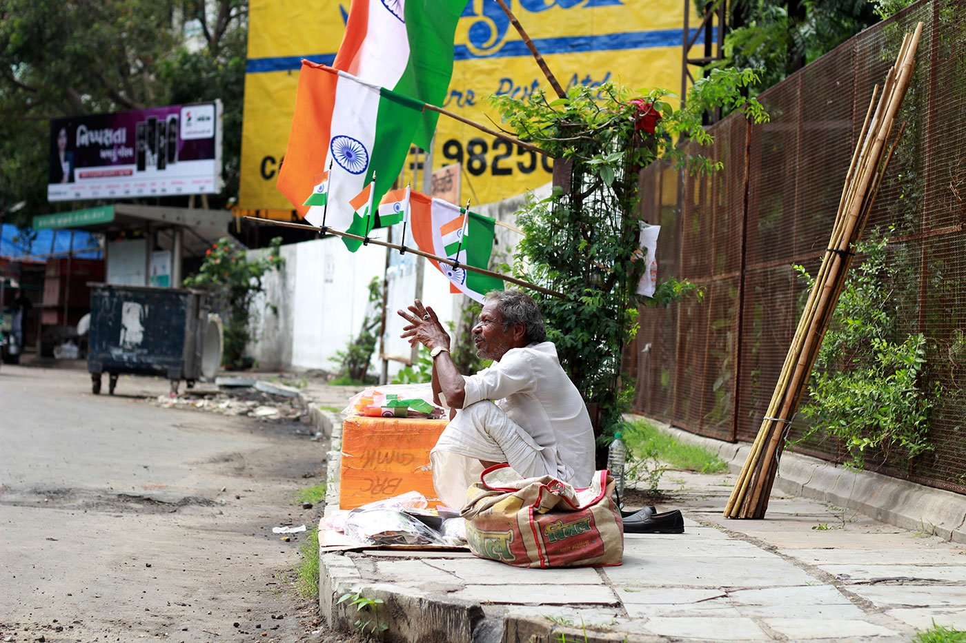 Chiranjilal Bagariya, in his 60s, is the oldest flag-seller on these streets