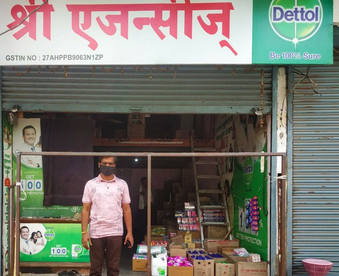 Tanuj Baheti outside his shop that sells Dettol. He  has benefited from the lockdown – the demand for Dettol has never been higher