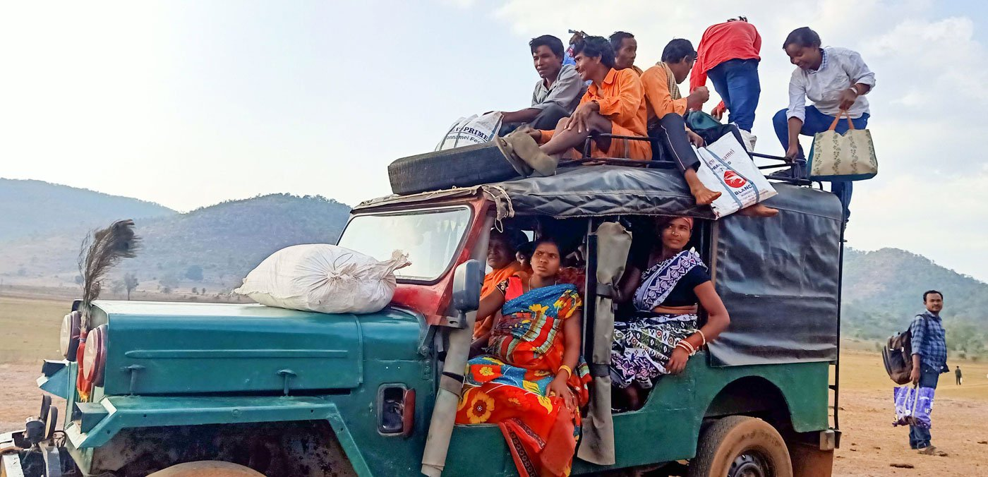 People of Tentapali returning from Chitrakonda after a two-hour water journey; this jeep then takes them a further six kilometres to their hamlet. It's a recent shared service; in the past, they would have to walk this distance