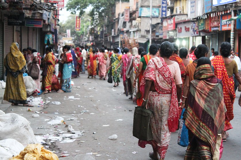 Workers outside Jadavpur railway station