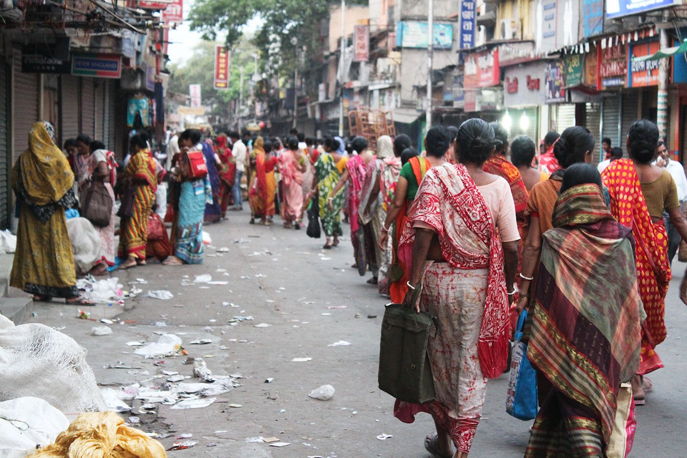 Workers outside Jadavpur railway station