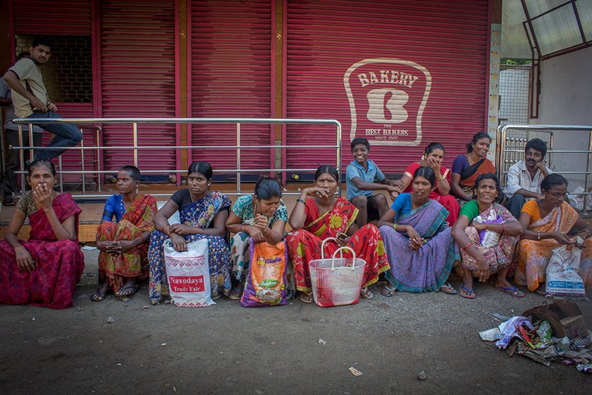 Women migrant labourers waiting for work
