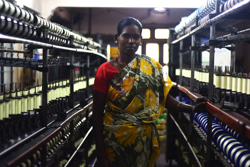 Shanthi Duraiswamy, a worker in a small yarn-making unit, where the machines produce around 90 decibels of noise