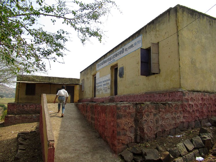 A young boy running up the ramp in the school at Hatkarwadi village in Beed district of Maharashtra