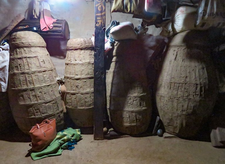 In one corner of Malu Wagh's hut, paddy is stored amid neem leaves in a kanagi: 'That's the most precious thing in the house now'