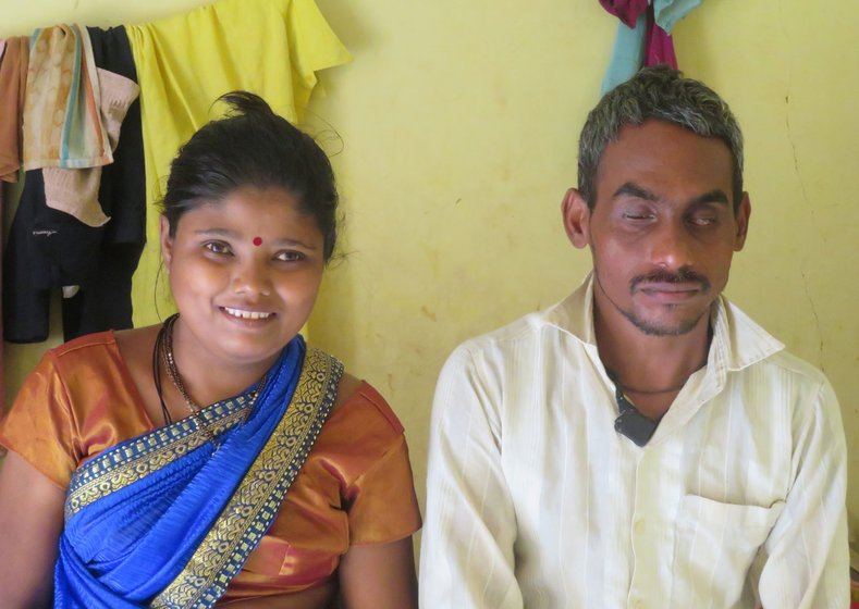 'It was not even a year since I started earning decently and work stopped [due to the lockdown],' Dnyaneshwar Jarare says; his wife Geeta (left) is partially blind