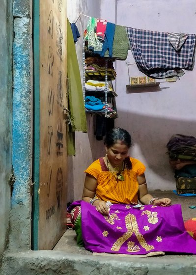 "As the only ""woman Odia agent' in Vishram Nagar, Ranjita Pradhan sub-contracts diamond-sticking work from three garment factory owners to nearly 40 women in the neighbourhood since 2014. She delivers one kilogram of sequins, fabric glue and the dress materials to the women workers."