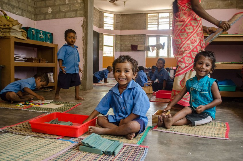 More than half of the primary school's students stay on the campus; it is also 'home' to 102 children attending government schools around Sikkal village (file photos)