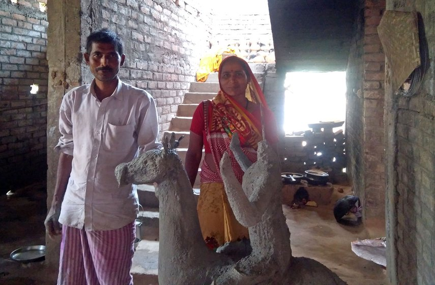 Sudama and Sunita with cement sculpture