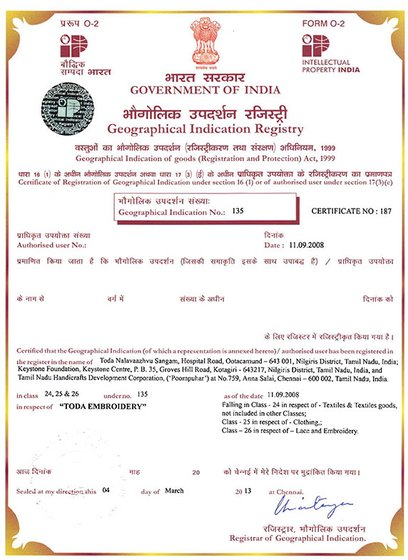 Toda-GI135-Certificate of Registration