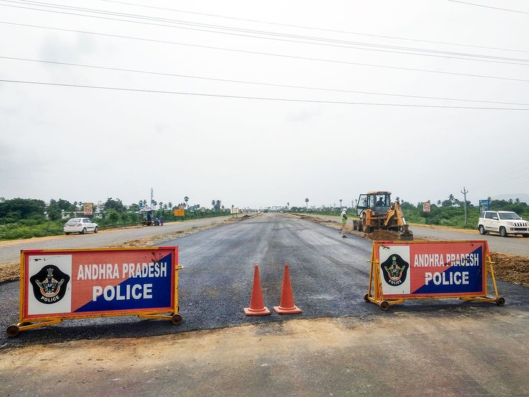 The main arterial road of Amaravati which connects Amaravati to Vijayawada is in construction