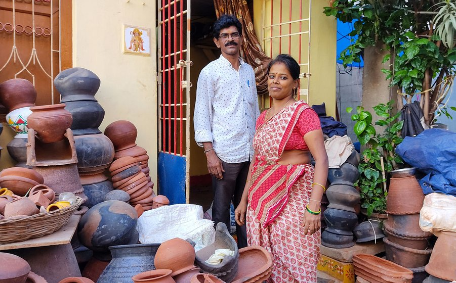 S. Srinivasa Rao's house is filled with unpainted Ganesha idols. 'Pottery is our kula vruthi [caste occupation]...' says his wife S. Satyawati