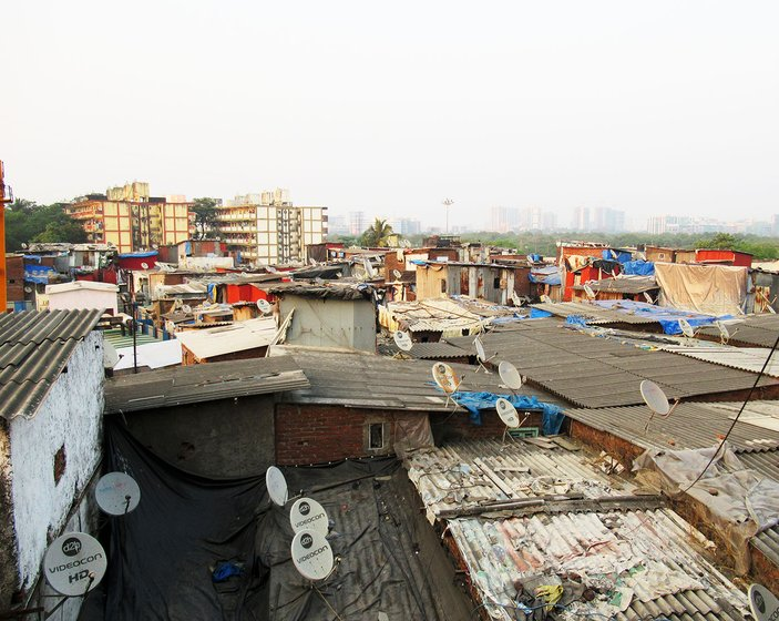 The view from a hutment room in Dharavi