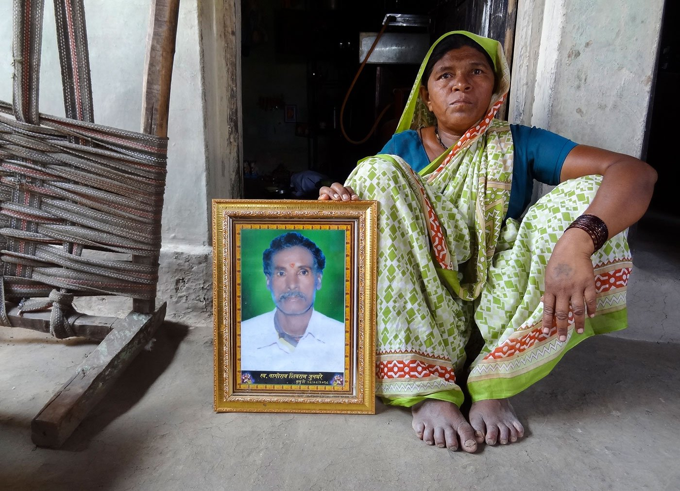 T1's last victim on August 28, 2018, was Nagorao Junghare, a farmer and herder in Pimpalshenda village that falls in Kalamb tehsil along the Ralegaon tehsil's border in Yavatmal district. His widow, Renukabai, is still to come to terms with her husband's death in T1's attack. She's at their hut here.