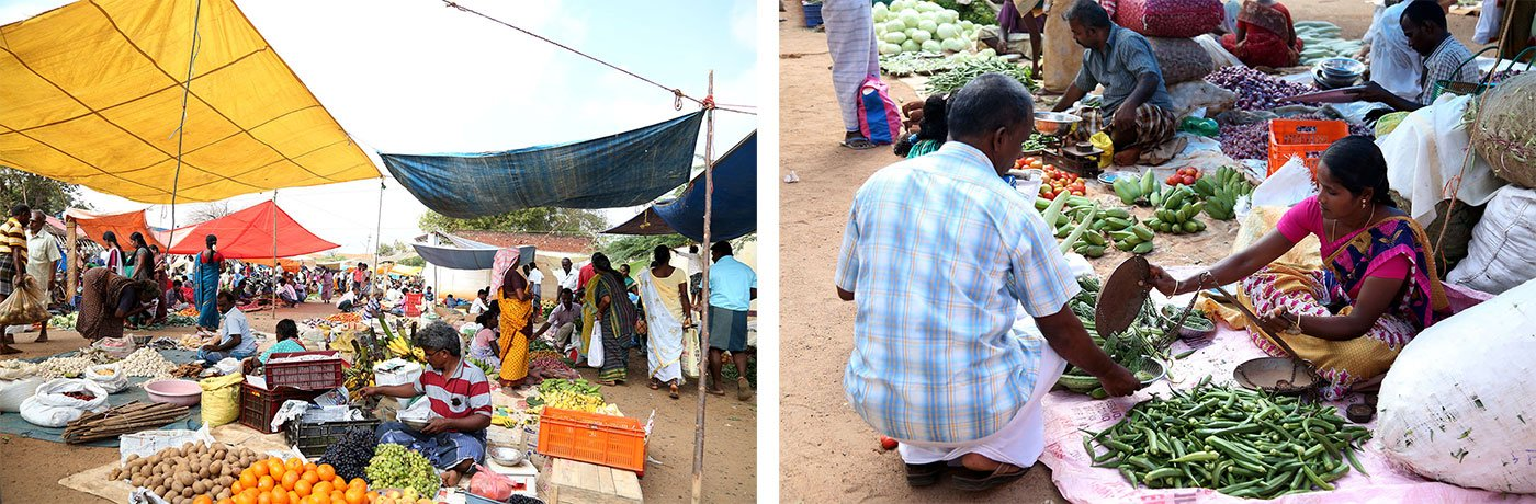 The Sivagangai market (left); Chandra retailing vegetables