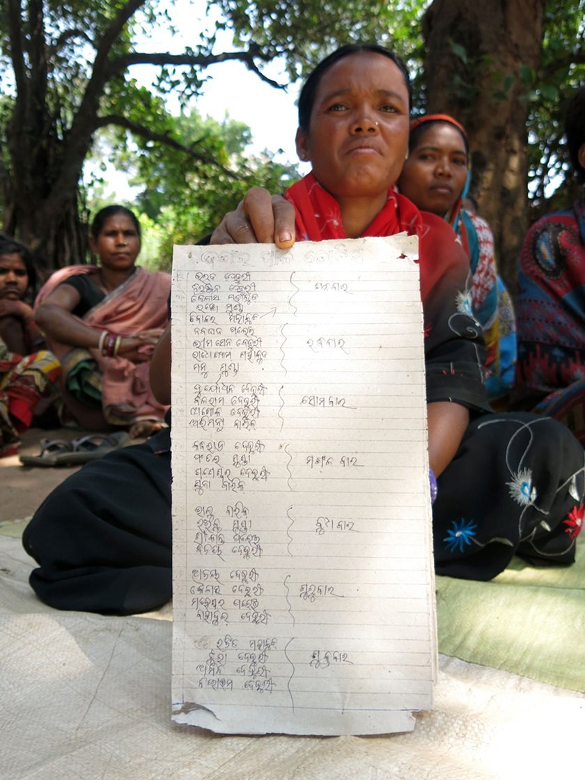 Shakuntala Dehury shows Nitigotha's community forest protection roster