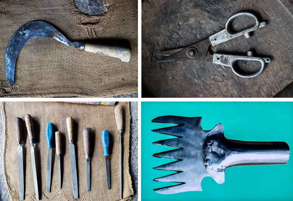 The Shikalgars make tools like sickles (top left), grapevine-cutting scissors (top right) and barchas (a serrated tool to kill fish; bottom right). They use different kinds of kanas (filing tools) to shape the adkitta