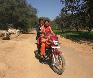 Young girls in Mau tehsil, Chitrakoot, biking their way to college