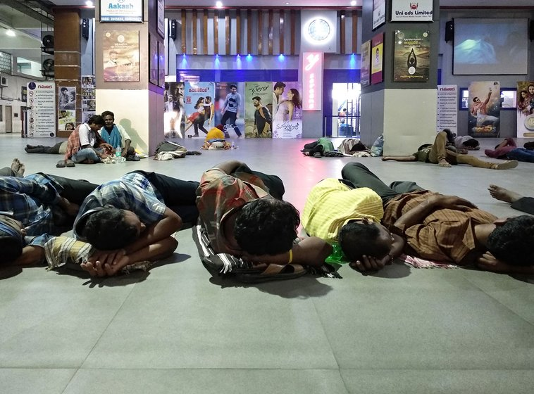 Homeless people, who mostly are migrant daily wage labourer from rural parts of Andhra Pradesh, sleep in the Pandit Nehru Bus Station in Vijayawada.