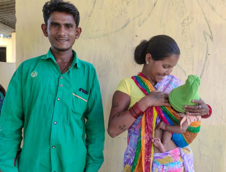 Left: Dr. Meenal Indurkar, district consultant for health in Narayanpur, speaking to young mothers about malnutrition. Right: Dashmati Yadav (with her husband Prakash and their baby girl), says, '...my baby boy died after birth at home. So this time my husband called the ambulance and I was taken to Benoor for my delivery'