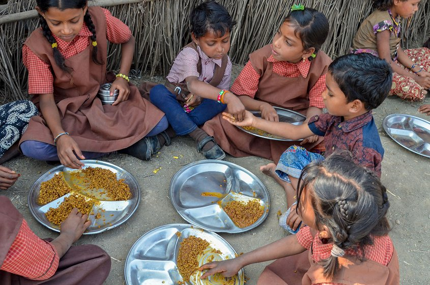 Students eating their school meal