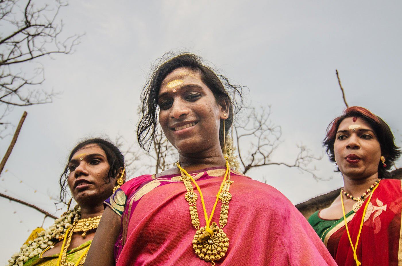 Pinky (centre), the leader of a group of newly-wed aravanis from the outskirts of Chennai, is thrilled to be married. A portrait of three transgender women