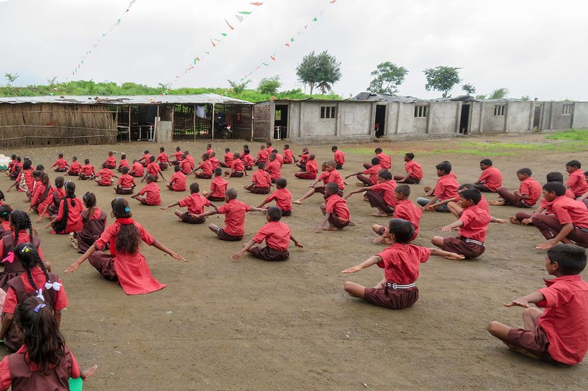 Students exercising on school grounds