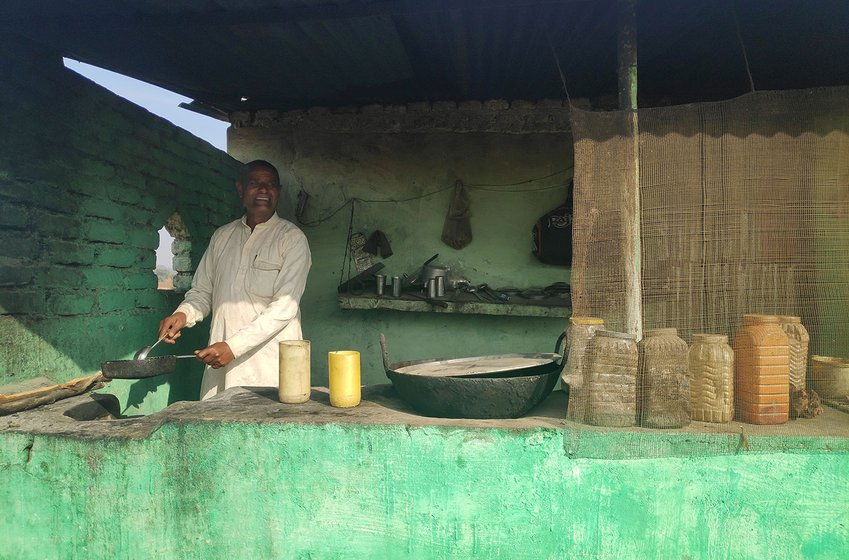 Shivdayal Rajput at his tuck shop