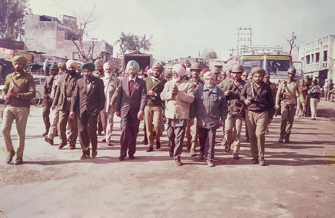 Bhagat Singh, accompanied by a contingent of security men, campaigning in the Punjab Assembly poll campaign of 1992, which he contested from Garhshankar constituency