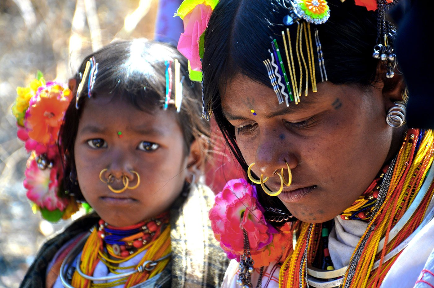 Tribal women wearing their colourful jewellery