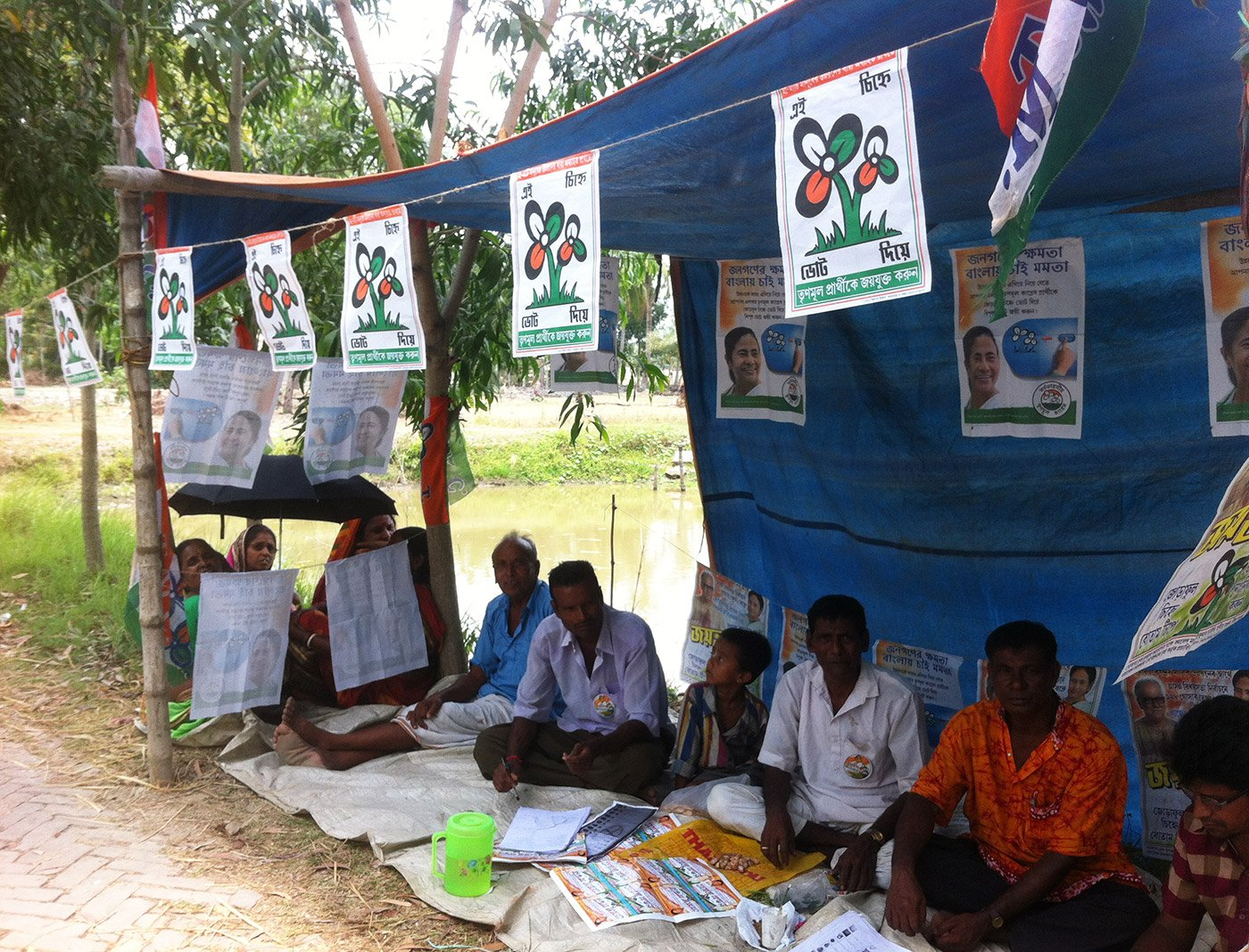 Political parties set up tents to help voters