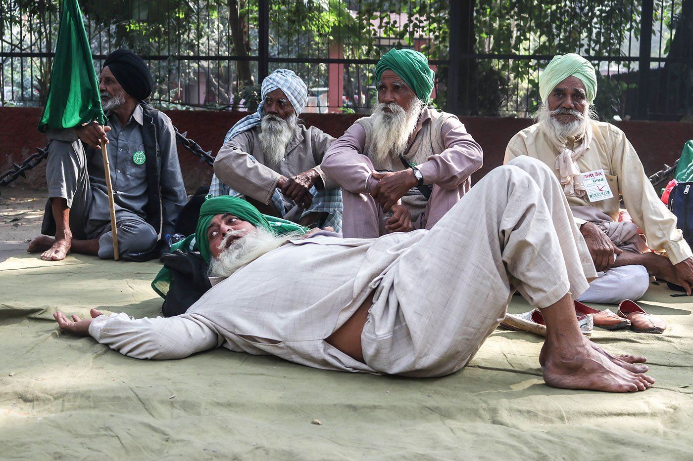 Farmers from rural Punjab resting at the Parliament Street