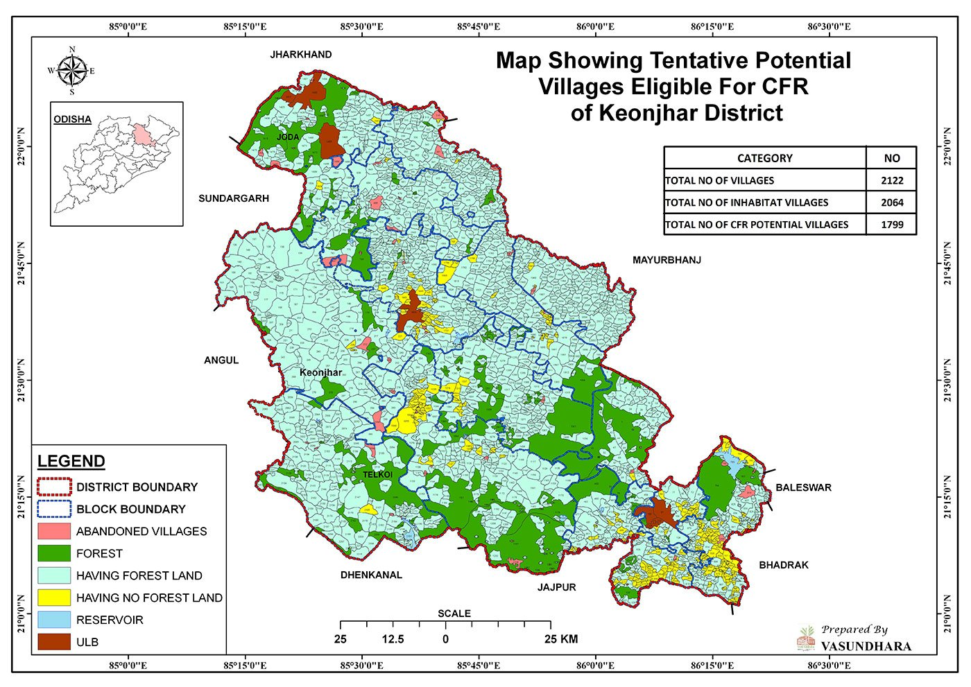 A graphic, based on a study by Vasundhara, an NGO in Odisha, shows community forests across Keonjhar district's 336,615 hectares of  forest, and the potential for awarding Community Forest Rights titles to villages (Courtesy: Vasundhara)
