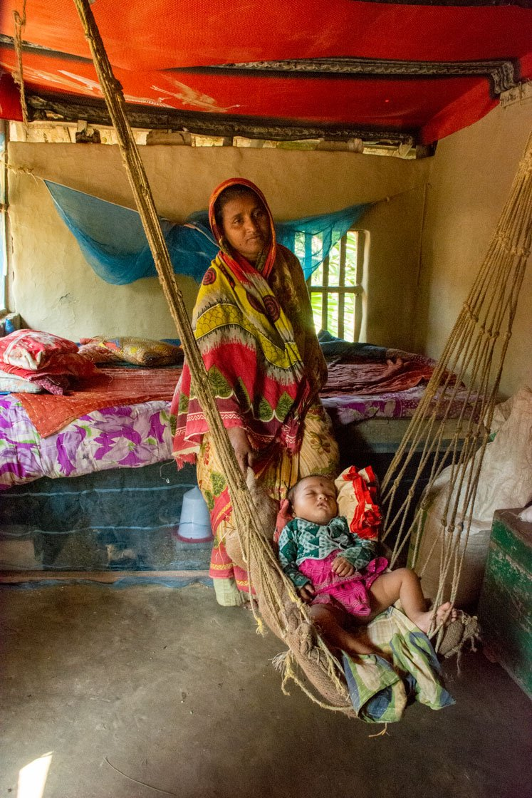 Left: Anjuman Bibi of Ghoramara island cradles her nine-month-old son Aynur Molla. Her elder son Mofizur Rahman dropped out of school in Class 8 to support the family. Right: Asmina Khatun, 18, has made it to Class 12 in Baliara village in Mousuni Island, Namkhana block. Her brother, 20-year-old Yesmin Shah, dropped out of school in Class 9 and migrated to Kerala to work as a mason