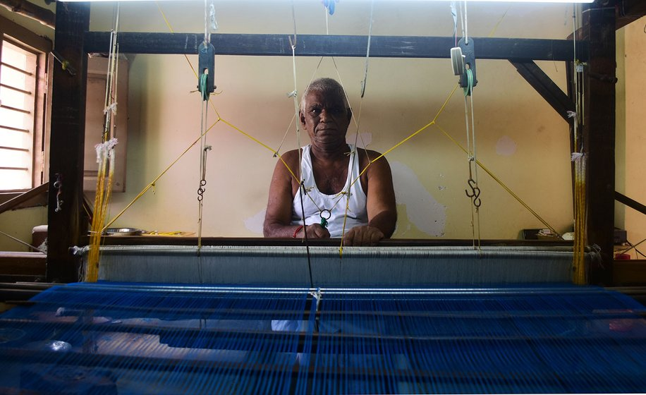 Narasimhan Dhanakodi, 73, has been weaving for half a century and says he wants to continue to do so