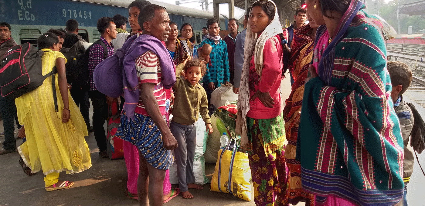 Labourers at railway station