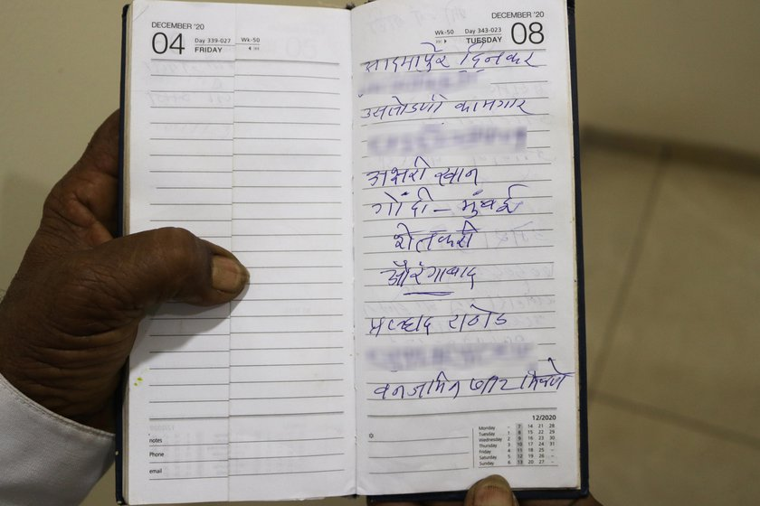 Left: Narayan always talks to the protesting farmers to know more about their struggles and takes notes in his diary. Right: Narayan has sent 250 postcards to Narendra Modi, asking him to repeal the three farm laws